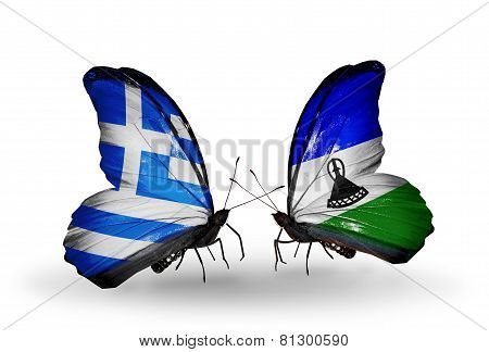 Two Butterflies With Flags On Wings As Symbol Of Relations Greece And Lesotho