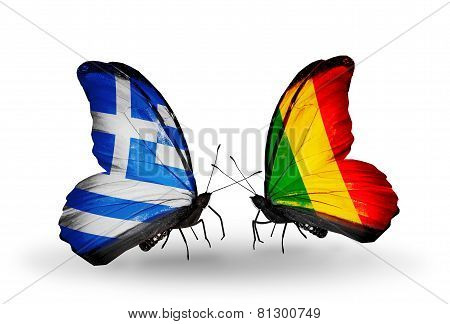 Two Butterflies With Flags On Wings As Symbol Of Relations Greece And Mali