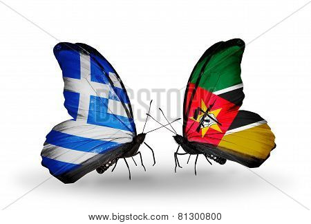Two Butterflies With Flags On Wings As Symbol Of Relations Greece And Mozambique
