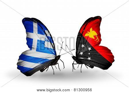 Two Butterflies With Flags On Wings As Symbol Of Relations Greece And Papua New Guinea