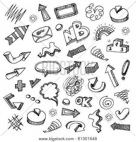 Hand-drawn doodle set - arrows, bubbles etc.
