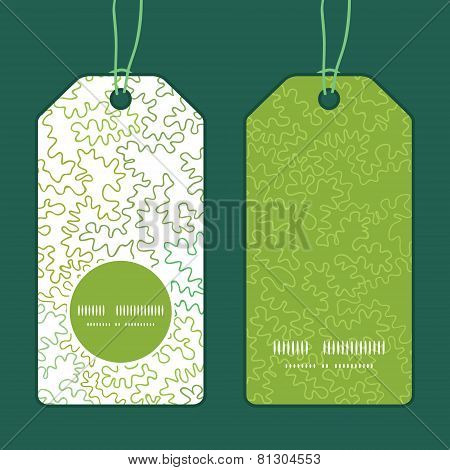 Vector curly doodle shapes vertical round frame pattern tags set