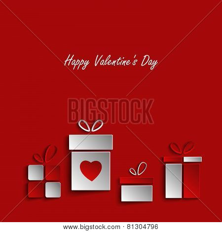 Valentines Card With Gifts On Red Background