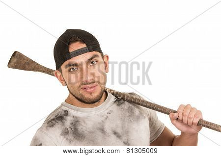 young muscular latin construction worker