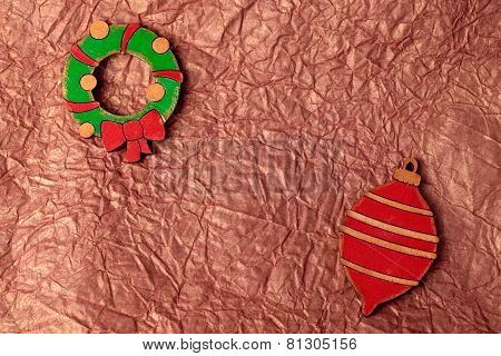Handmade Painting Wood Christmas Decoration On Gold Crumpled Tissue Paper