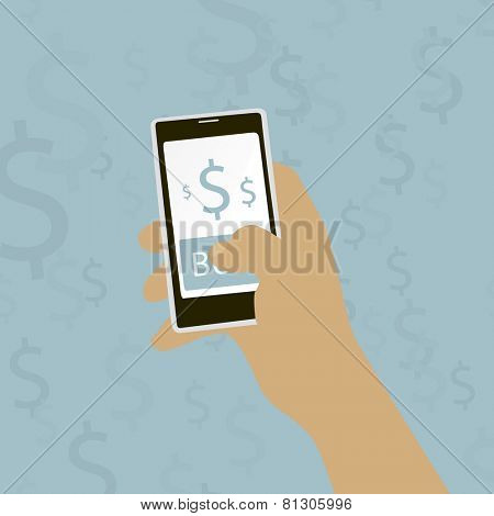 hand holding a mobile phone with buy button Vector illustration