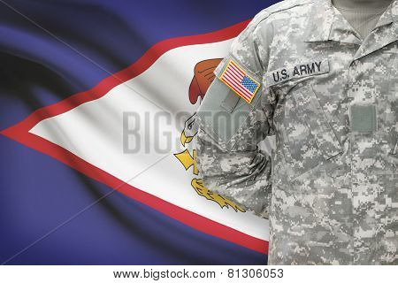 American Soldier With Flag On Background - American Samoa