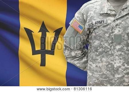 American Soldier With Flag On Background - Barbados