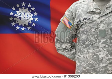American Soldier With Flag On Background - Burma