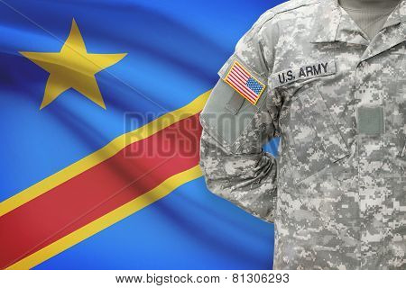 American Soldier With Flag On Background - Democratic Republic Of The Congo - Congo-kinshasa