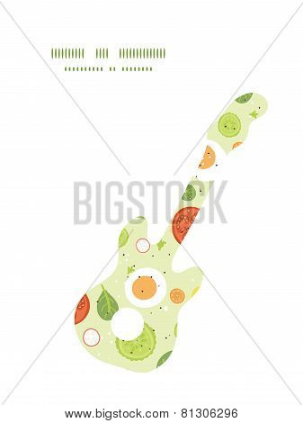 Vector fresh salad guitar music silhouette pattern frame