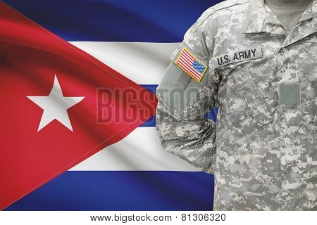 American Soldier With Flag On Background - Cuba