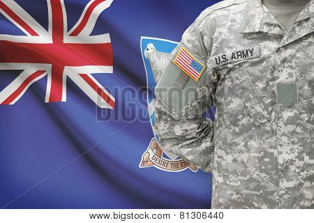 American Soldier With Flag On Background - Falkland Islands