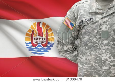 American Soldier With Flag On Background - French Polynesia