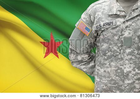 American Soldier With Flag On Background - French Guiana