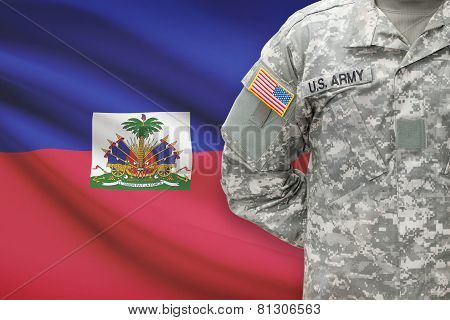 American Soldier With Flag On Background - Haiti