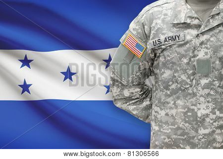 American Soldier With Flag On Background - Honduras