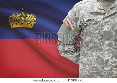 American Soldier With Flag On Background - Principality Of Liechtenstein
