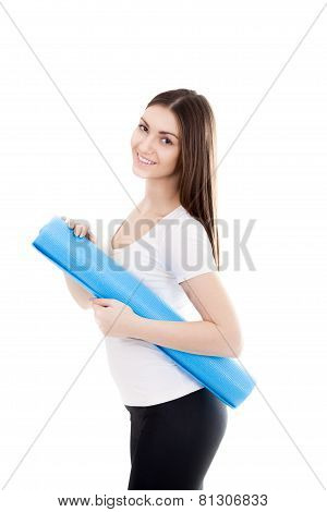 Smiling Sporty Girl With Yoga Mat
