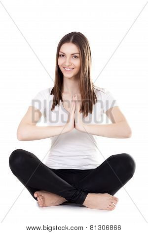 Beautiful Yogi Female Sitting In Lotus Position