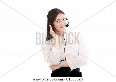 Young Woman In Office Attire With Headset On White Background