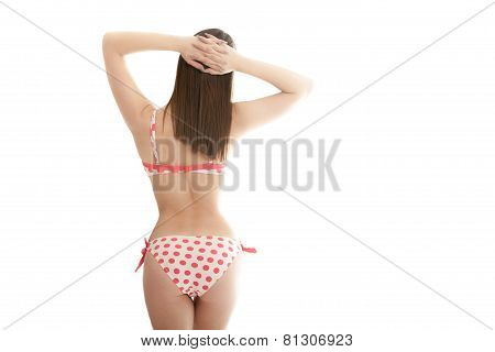 Young Woman Back In Swimsuit, Isolated