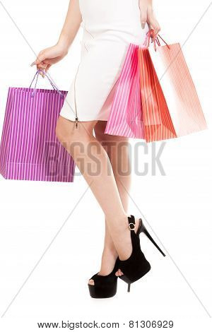 Girl With Shopping Bags, Closeup On Beautiful Female Legs On Stilleto