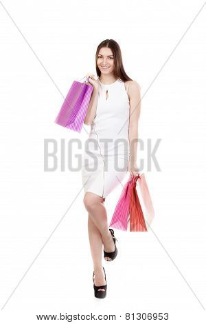 Happy Shopping Smiling Girl Carrying Colorful Shopping Bags