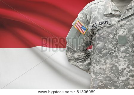 American Soldier With Flag On Background - Monaco