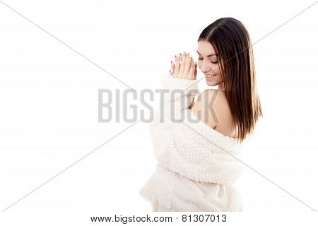 Sexy Young Female In White Bathrobe With Copy Space