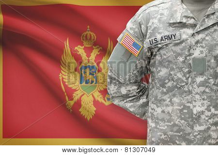 American Soldier With Flag On Background - Montenegro