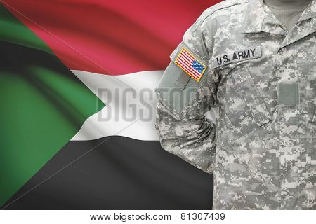 American Soldier With Flag On Background - Sudan