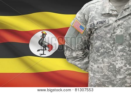American Soldier With Flag On Background - Uganda