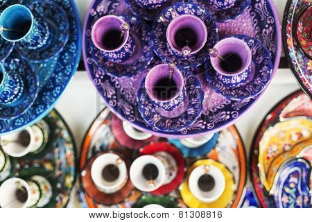 Turkish colorful coffee sets