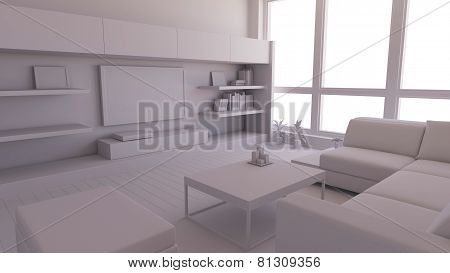 Interior render of a dining room without textures