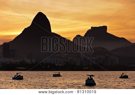 Rio de Janeiro Lagoon by Sunset with Pedal Boats