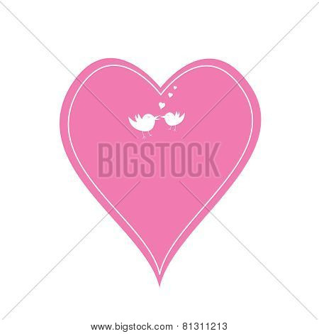 Pink Heart And Love Birds
