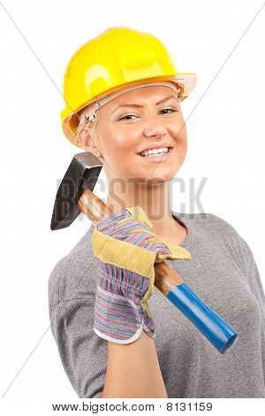 Carpenter Woman With Hammer