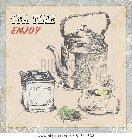 hand draw vintage label tea. old kettle a cup a box of tea, tea leaves