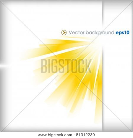 Yellow and silver vector background with sun burst effect