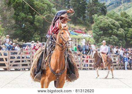 Banos, Ecuador - 30 November 2014: Young Latin Cowboy Riding A Horse And Throwing A Lasso Trying To Catch A Bull In Banos On November 30, 2014