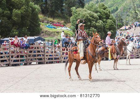 Banos de Aqua Santa, Tungurahua, Ecuador, November 2014, Young Latin cowboy riding a horse, Banos de