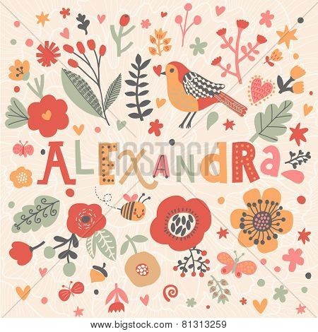 Bright card with beautiful name Alexandra in poppy flowers, bees and butterflies. Awesome female name design in bright colors. Tremendous vector background for fabulous designs