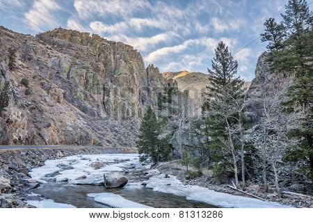 Cache la Poudre River at Little Narrows west of  Fort Collins, Colorado - winter scenery