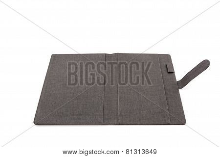 Black Leather Case On White Background.