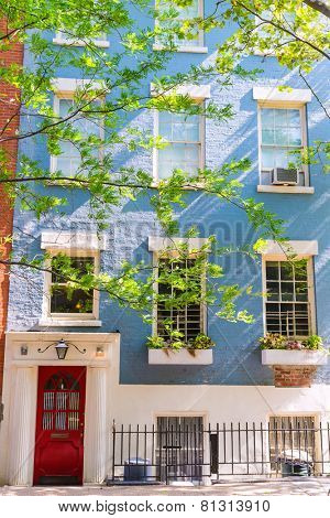 West Village in New York Manhattan building facades USA NYC