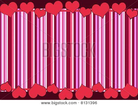 Stripes Border With Hearts