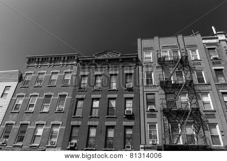 Brooklyn brickwall facades in New York US USA