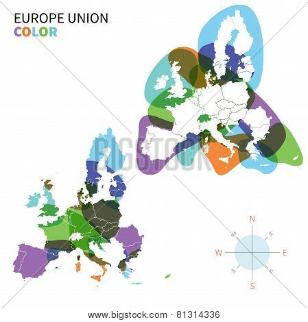 Abstract vector color Political map of Europe with paint effect.