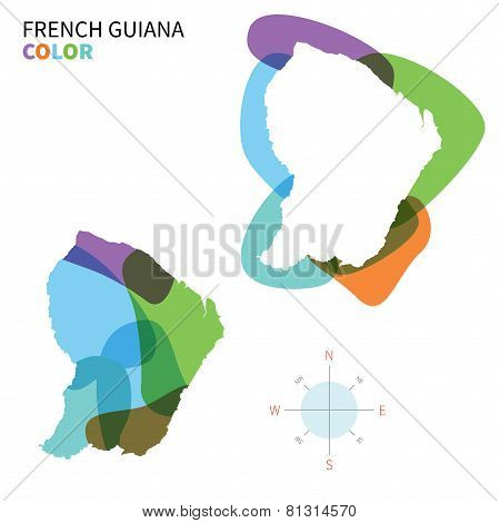 Abstract vector color map of French Guiana with transparent paint effect.